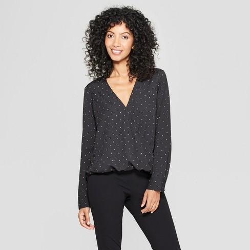 Women's Polka Dot Long Sleeve V-Neck Blouse - A New Day™ Black XL - image 1 of 3