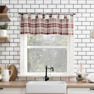 """14""""x52"""" Blair Farmhouse Plaid Semi-Sheer Tab Top Kitchen Curtain Valance - No. 918"""