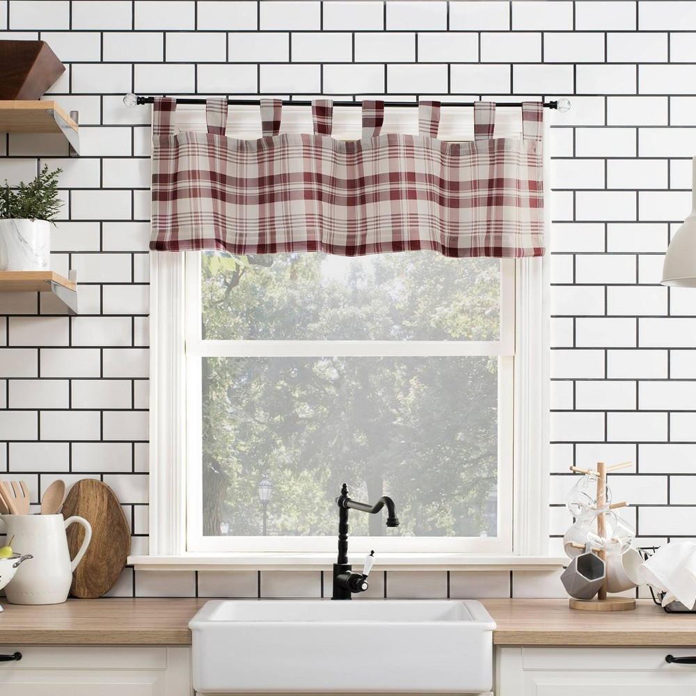 "Image of ""14""""x52"""" Blair Farmhouse Plaid Semi-Sheer Tab Top Kitchen Curtain Valance Red/Black - No. 918"""