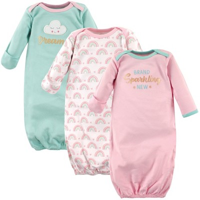 Luvable Friends Baby Girl Cotton Long-Sleeve Gowns 3pk, Dreamer, 0-6 Months