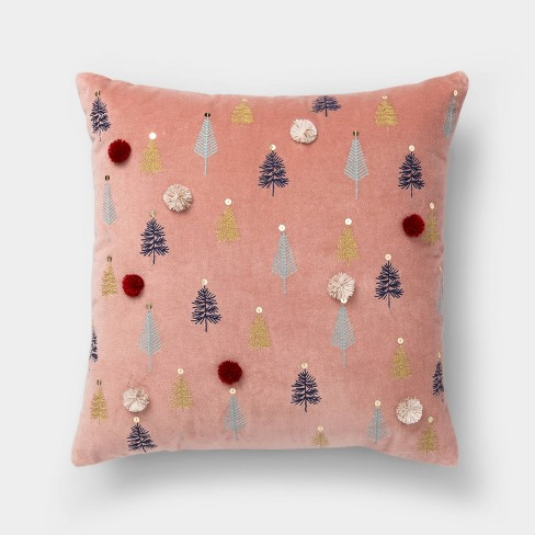 Embroidered Trees Square Throw Pillow - Opalhouse™ - image 1 of 4