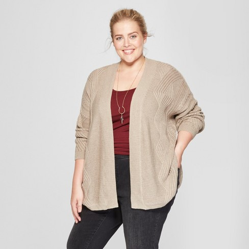 Womens Plus Size Cable Knit Cardigan Universal Thread Brown 3x
