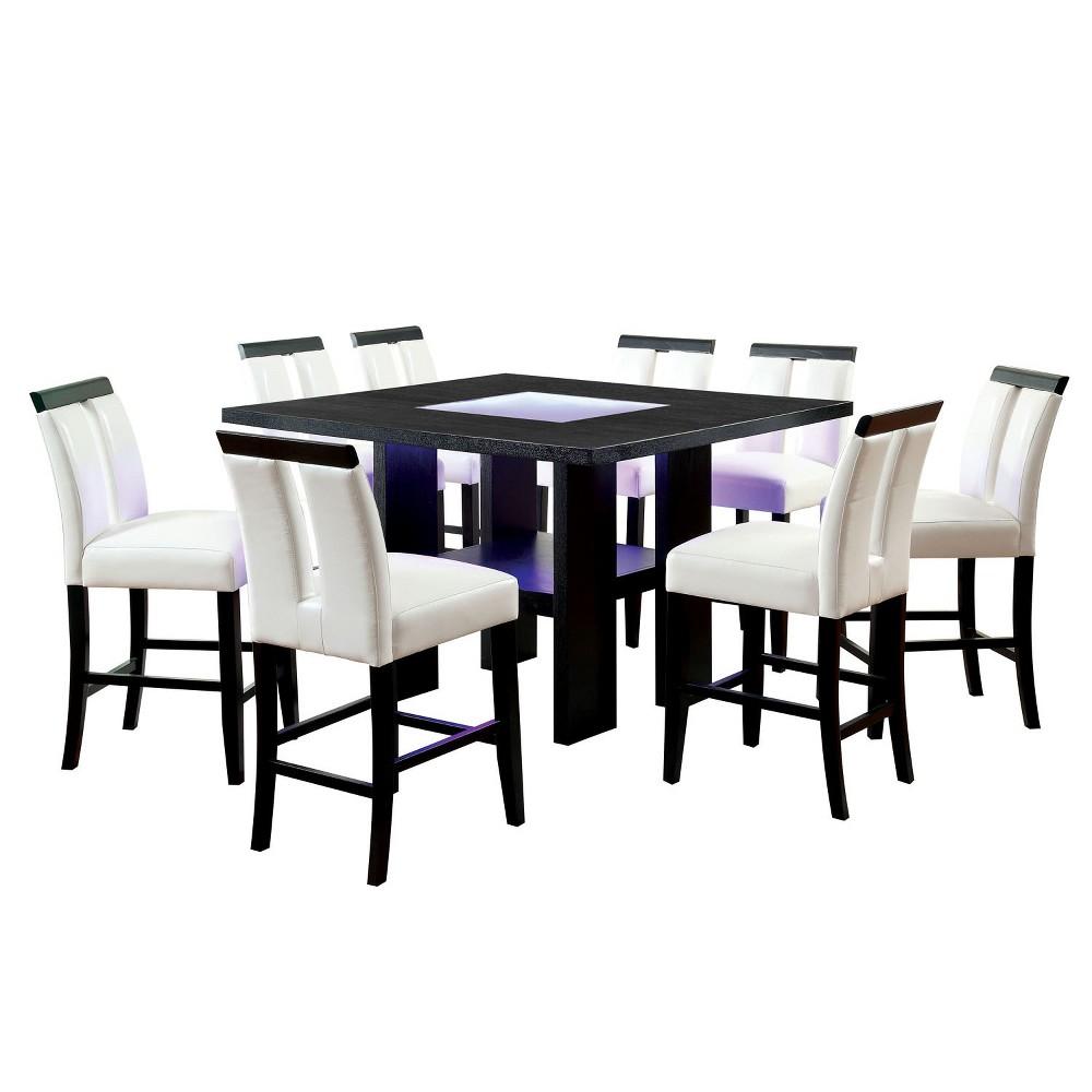 9pc Stevenson 160 Glass Insert Open Shelf W Led Lights Counter Dining Table Set Black White Homes Inside Out