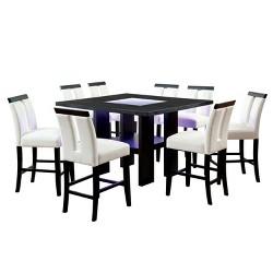 9pc StevensonGlass Insert Open Shelf w/Led Lights Counter Dining Table Set Black/White - ioHOMES