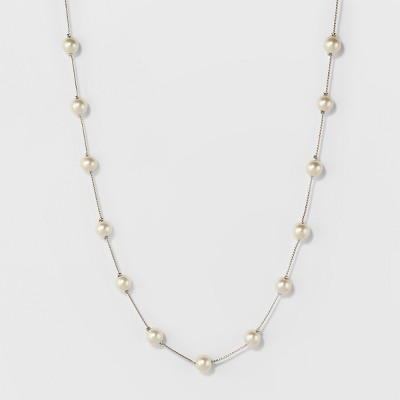 Short Faux Pearl Chain Necklace - A New Day™ Silver