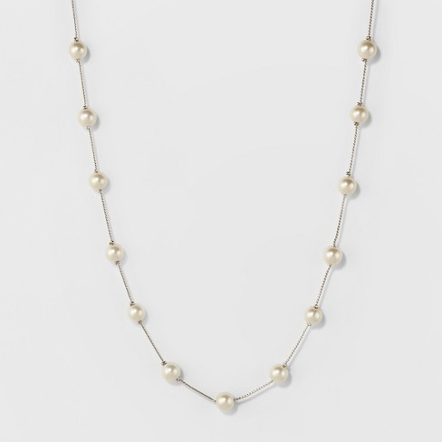 Short Faux Pearl Chain Necklace - A New Day™ Silver - image 1 of 3