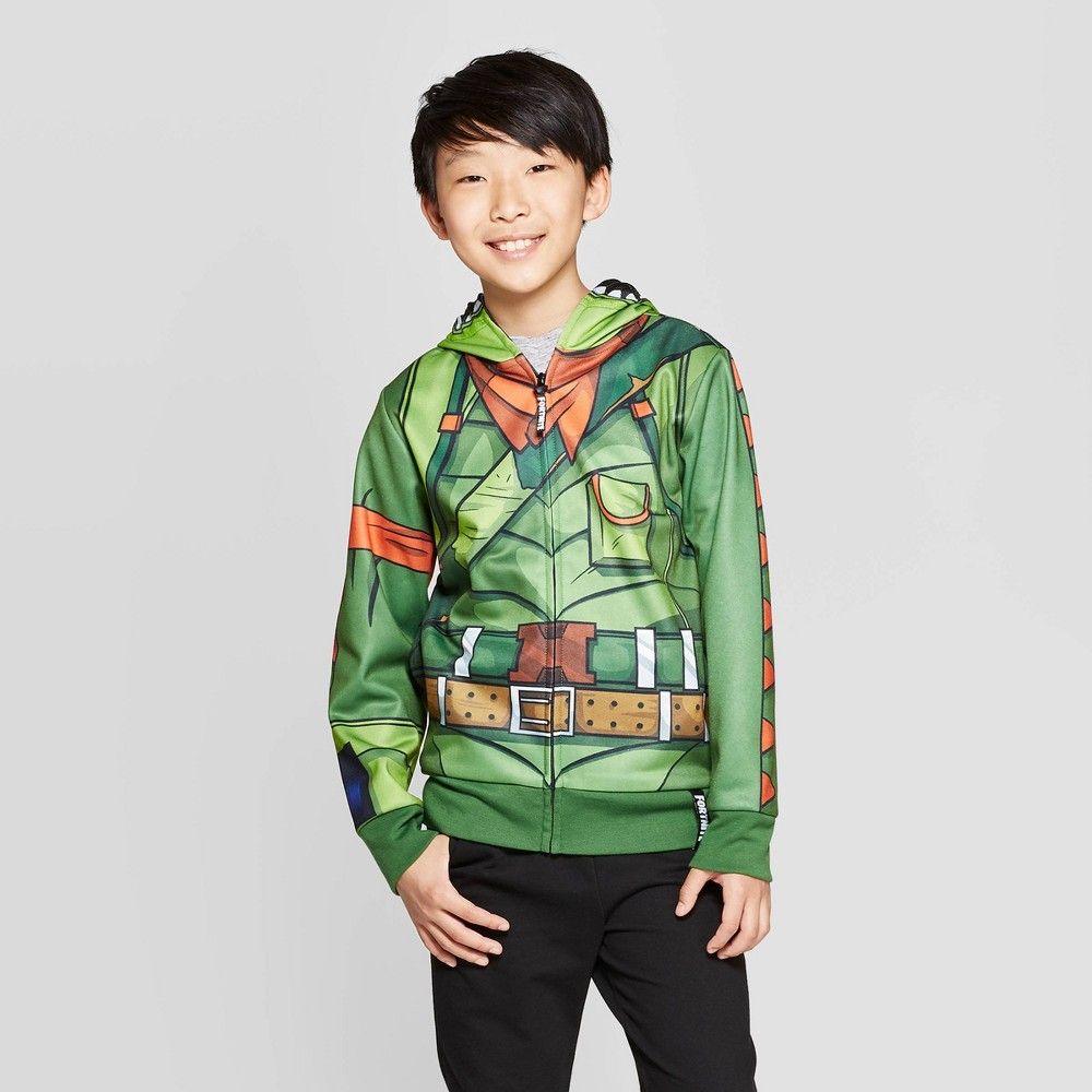 Image of Boys' Fortnite Rex Costume Fleece Sweatshirt - Green/Orange XL, Boy's