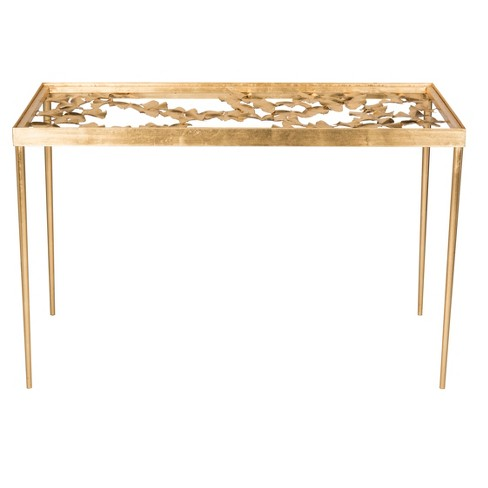 Otto Ginkgo Leaf Desk - Gold / Clear - Safavieh® - image 1 of 4