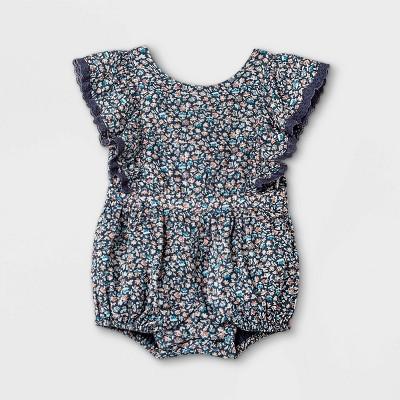 Baby Girls' Floral Romper - Cat & Jack™ Navy 6-9M