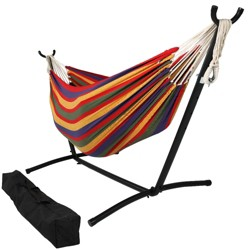 Tropical Brazilian Double Hammock and Stand - Red/Green/Blue/Yellow - Sunnydaze Decor