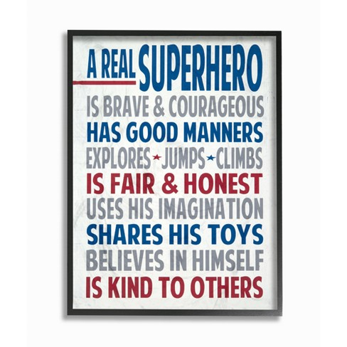 The Kids Room by Stupell A Real Superhero Typography Framed Giclee Texturized Art