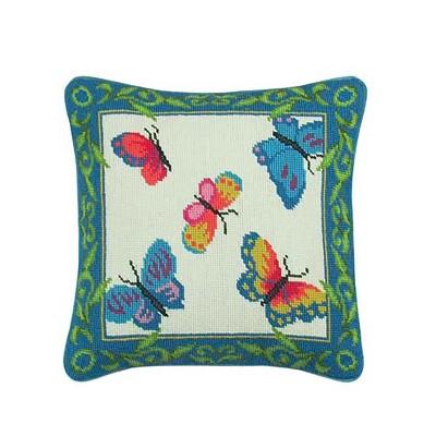 """C&F Home 14"""" x 14"""" Butterflies Needlepoint Pillow"""