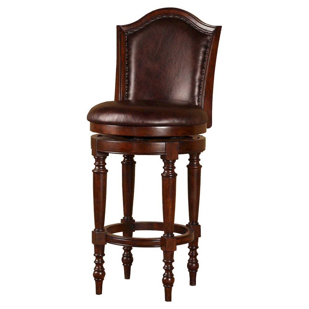 26 Barcelona Swivel Counter Stool Wood/Cherry (Red) - Hillsdale Furniture