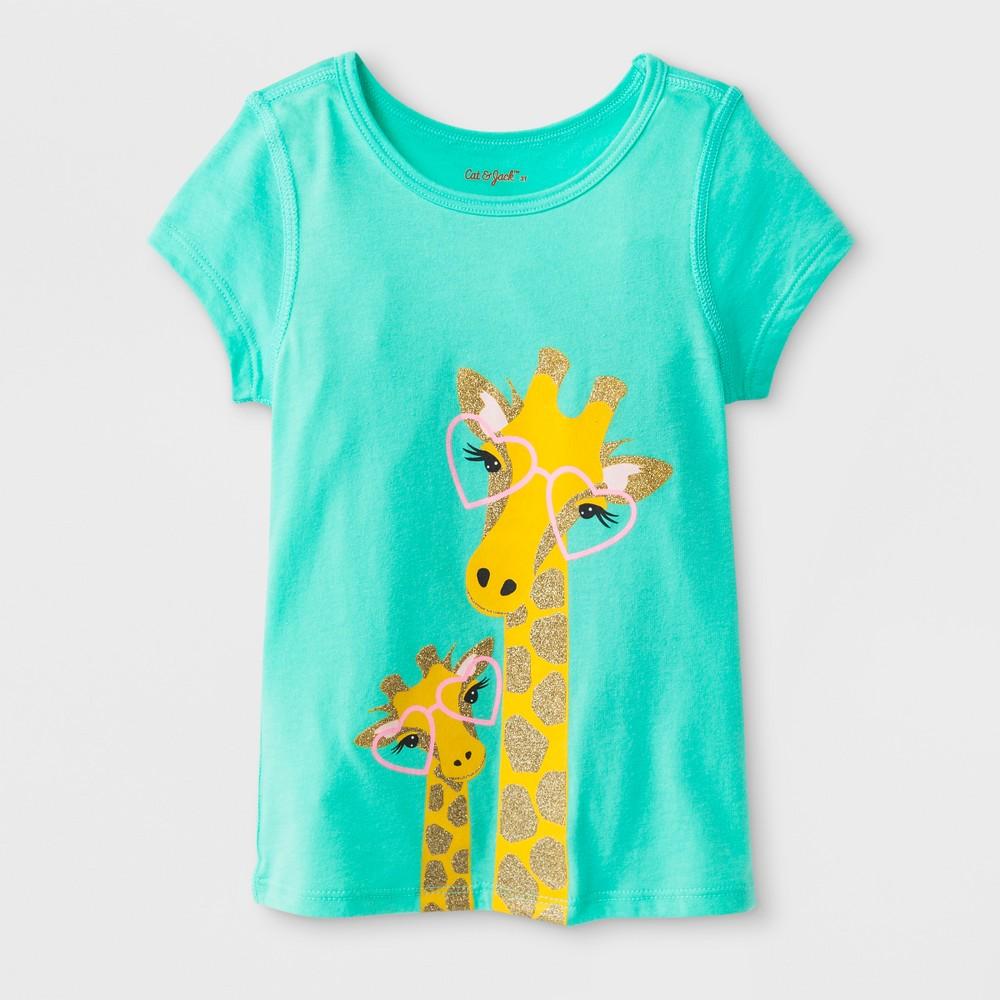 Toddler Girls' Adaptive Short Sleeve Giraffe Graphic T-Shirt - Cat & Jack Green 2T