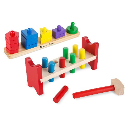 Melissa Doug Classic Wooden Toy Bundle Pound A Peg Stack And Sort Board