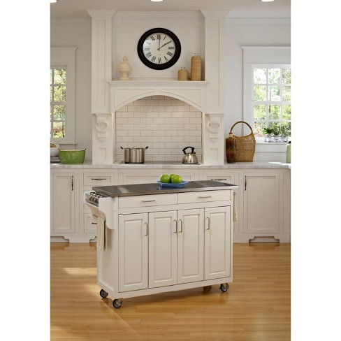 Kitchen Carts And Islands with Stainless Top White/Silver - Home Styles