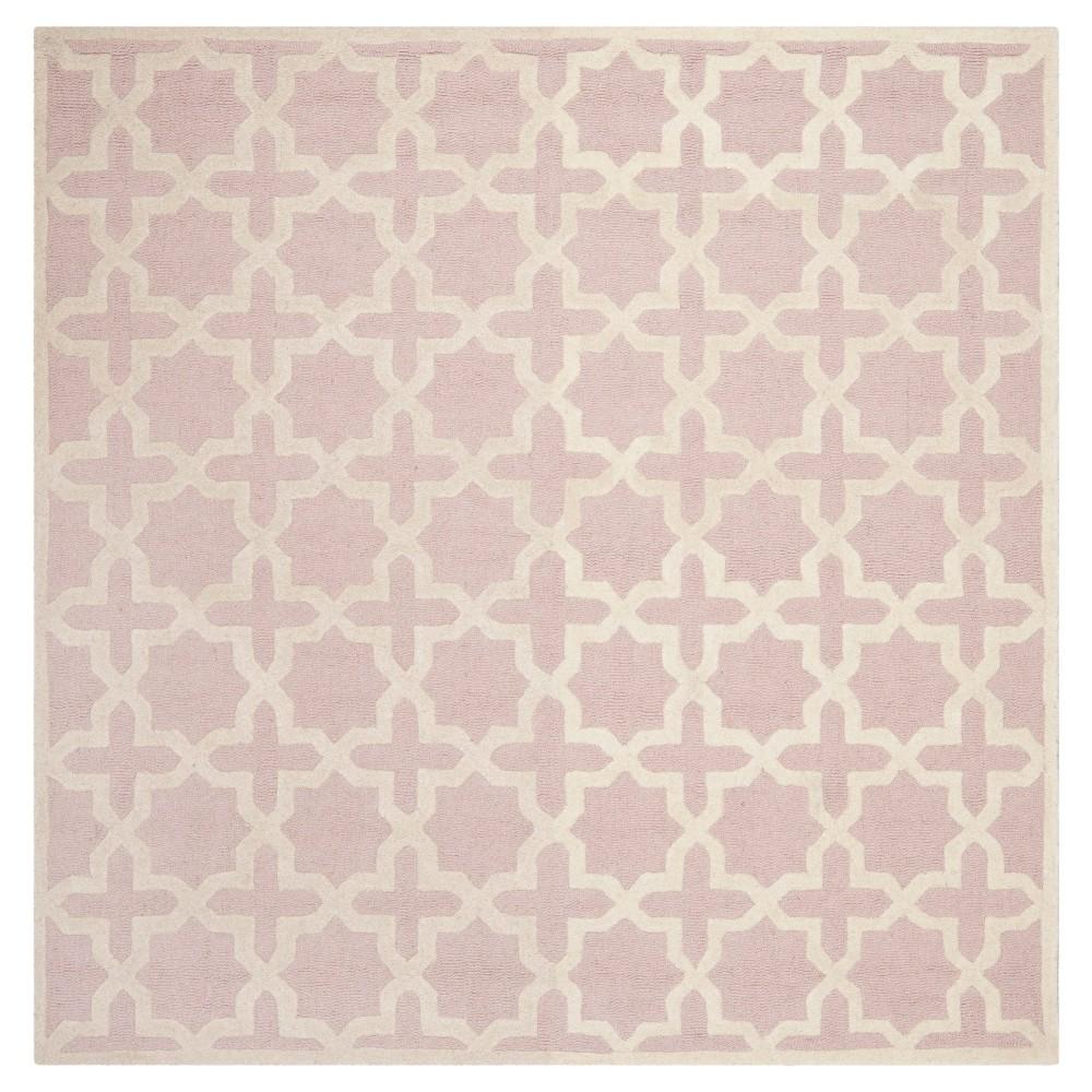 8'X8' Geometric Area Rug Light Pink/Ivory - Safavieh