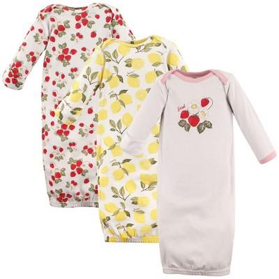 Hudson Baby Infant Girl Cotton Long-Sleeve Gowns 3pk, Strawberry Lemon, 0-6 Months
