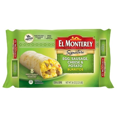 El Monterey Egg, Sausage, Cheese & Potato Frozen Burritos - 36oz/8ct