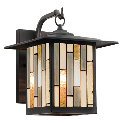 """11.75"""" Stained Glass 1-Light Prairie Style Outdoor Wall Lantern Sconce Oil-Rubbed Bronze - River of Goods"""