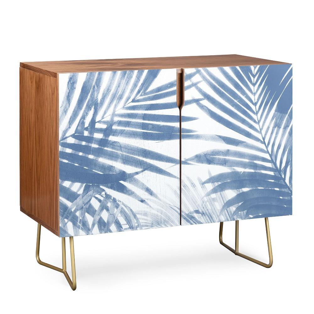 Emanuela Carratoni Serenity Palms Credenza Gold Legs Blue/Botanical - Deny Designs, Blue/Gold Legs