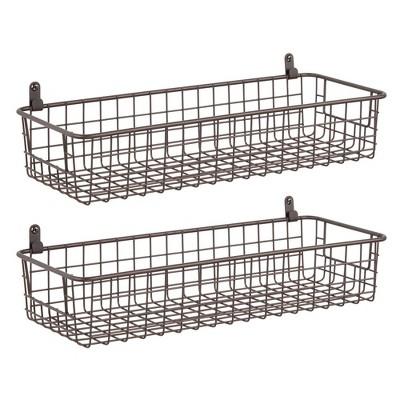 mDesign Metal Wall Mount Hanging Basket Bin for Home Storage