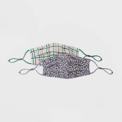 Women's 2pk Floral Face Mask - Universal Thread™ Plaid/Navy One Size