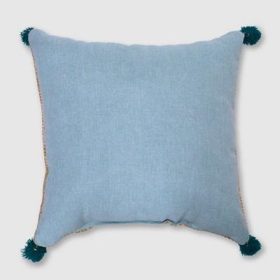 Square Tassels Outdoor Pillow Aqua - Opalhouse™