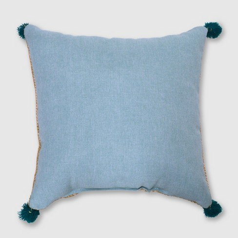 Square Tassels Outdoor Pillow Aqua - Opalhouse™ - image 1 of 3