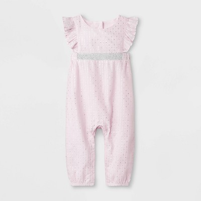 Baby Girls' Dobby Romper - Cat & Jack™ Pink 3-6M