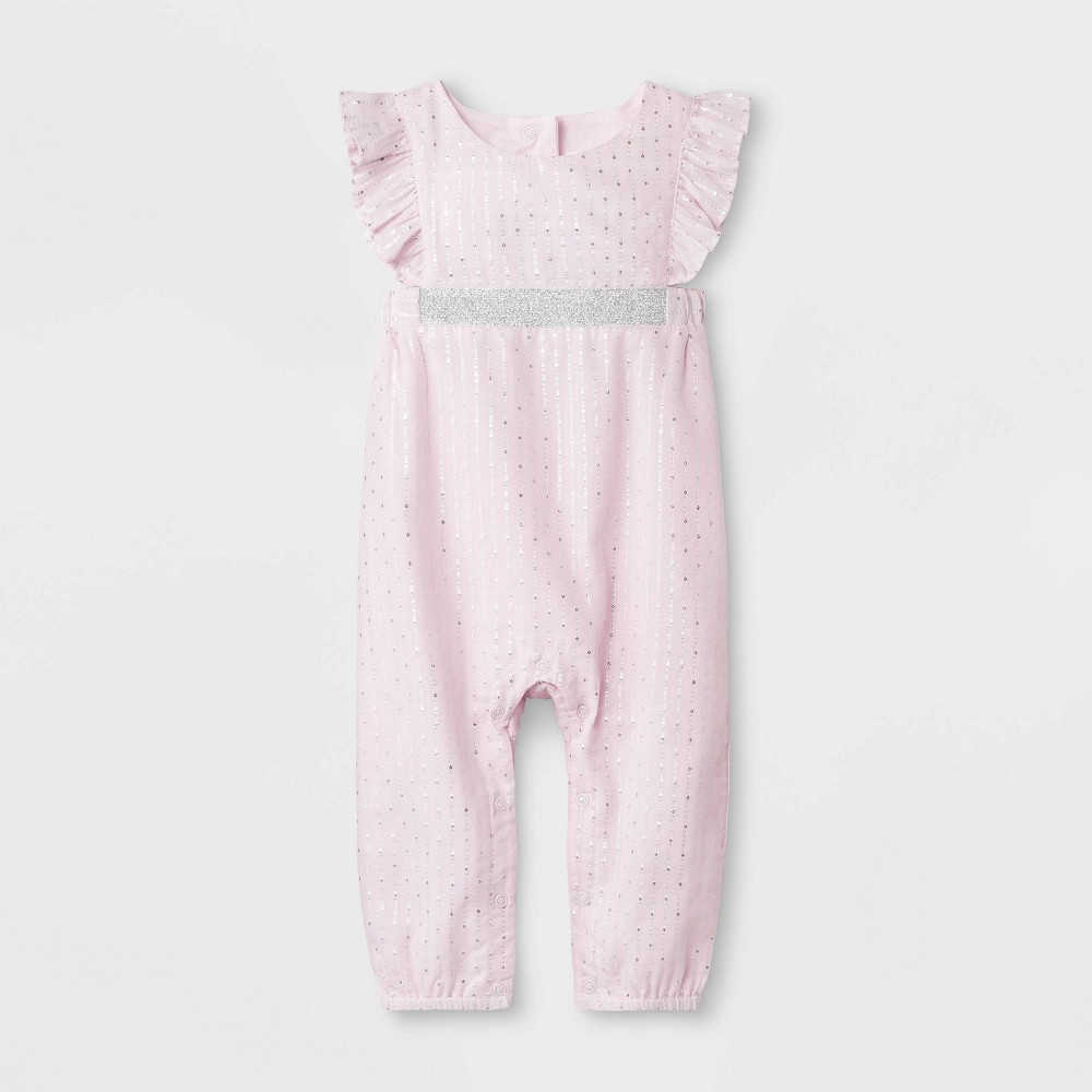 Baby Girls' Dobby Romper - Cat & Jack Pink 3-6M