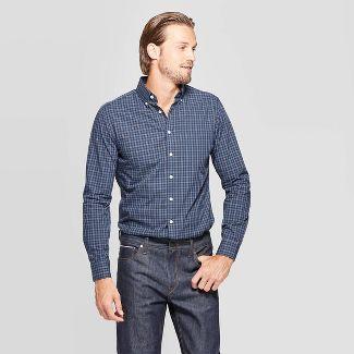 Men's Performance Slim Fit Long Sleeve Button-Down Shirt - Goodfellow & Co™ Xavier Navy 2XL