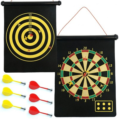 Toy Time Kids' Magnetic Roll-up Dart Board and Bullseye Game with Darts - Red/Yellow