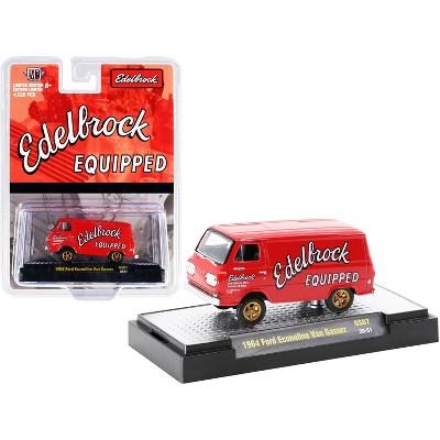 "1964 Ford Econoline Van Gasser Bright Red ""Edelbrock Equipped"" Ltd Ed 4620 pcs 1/64 Diecast Model Car by M2 Machines"