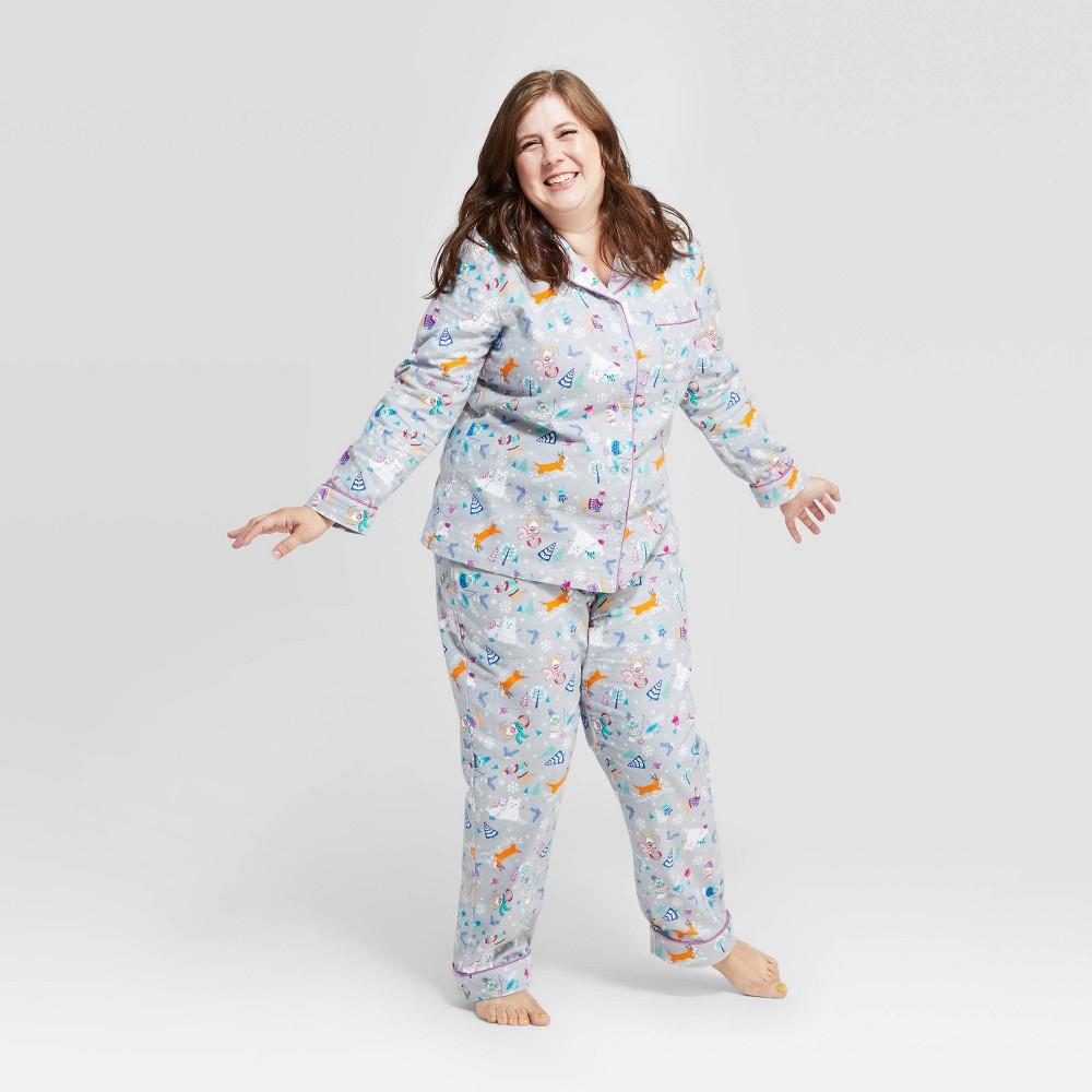 Image of Women's Holiday Festive Dogs Pajama Set - Gray XXL, Women's