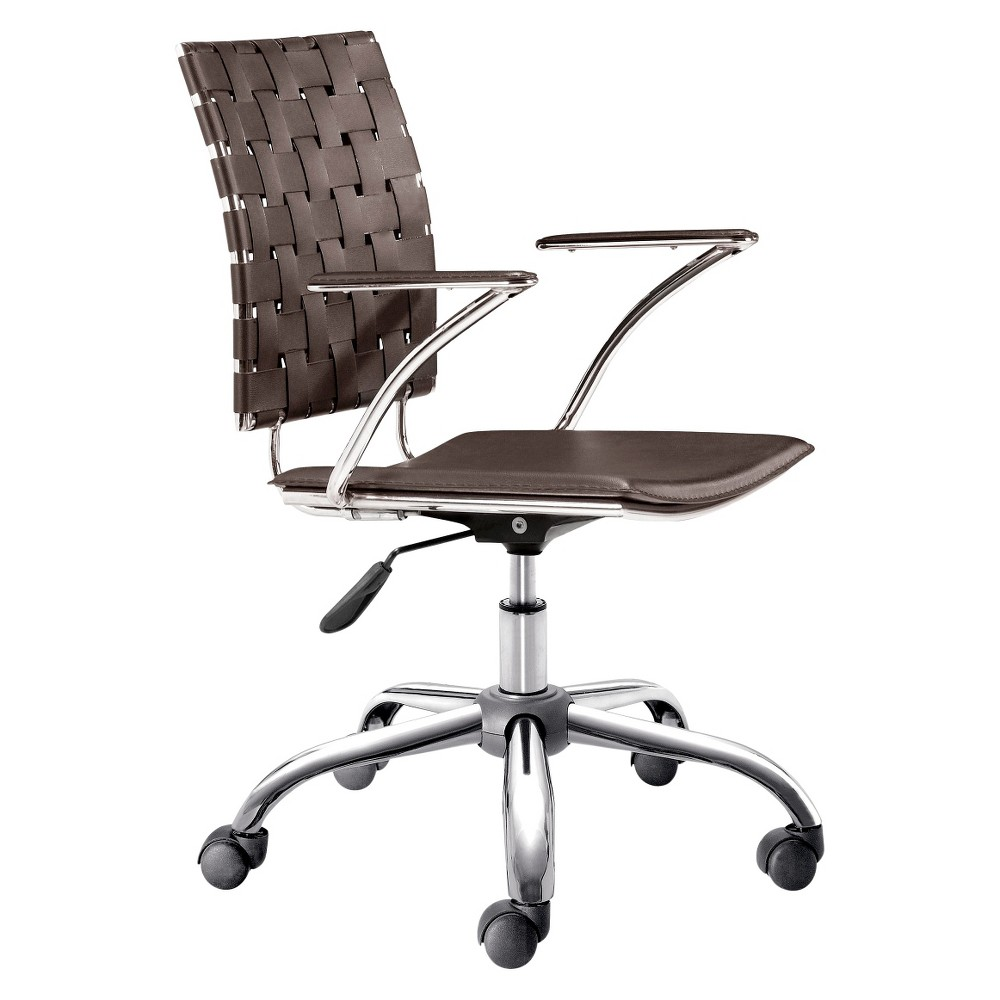 Modern Adjustable Chrome Office Chair - Espresso - ZM Home, Brown