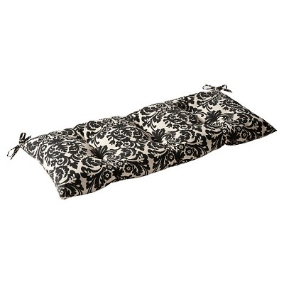 Outdoor Tufted Bench/Loveseat/Swing Cushion - Black/Cream Floral