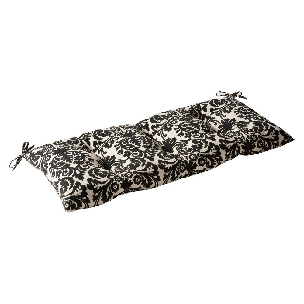Outdoor Tufted Bench Loveseat Swing Cushion Black Cream Floral