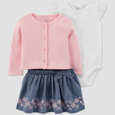Baby Girls' 3pc Cardigan Top & Bottom Set - Just One You® made by carter's Pink 3M