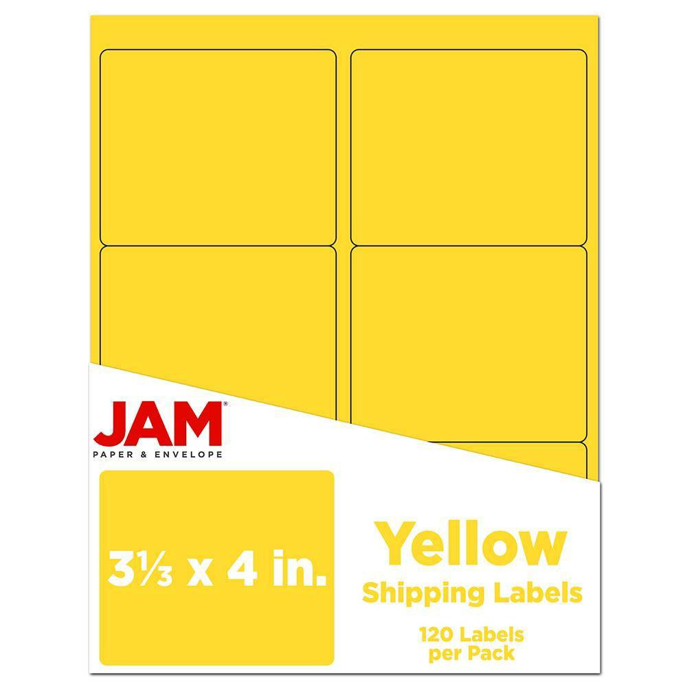 """Image of """"JAM Paper Mailing Labels 3 1/3"""""""" X 4"""""""" 120ct - Yellow"""""""
