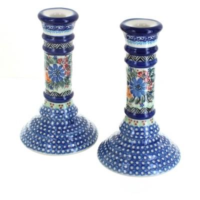 Blue Rose Polish Pottery Ashley Large Candlestick