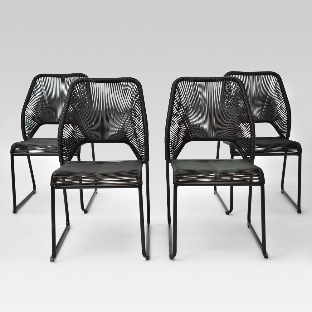 Fisher 4pk Patio Dining Chair Black - Project 62