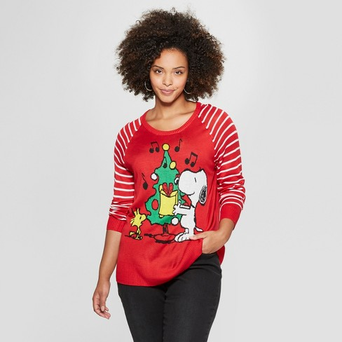 Womens Peanuts Plus Size Snoopy Christmas Sweater Juniors Red