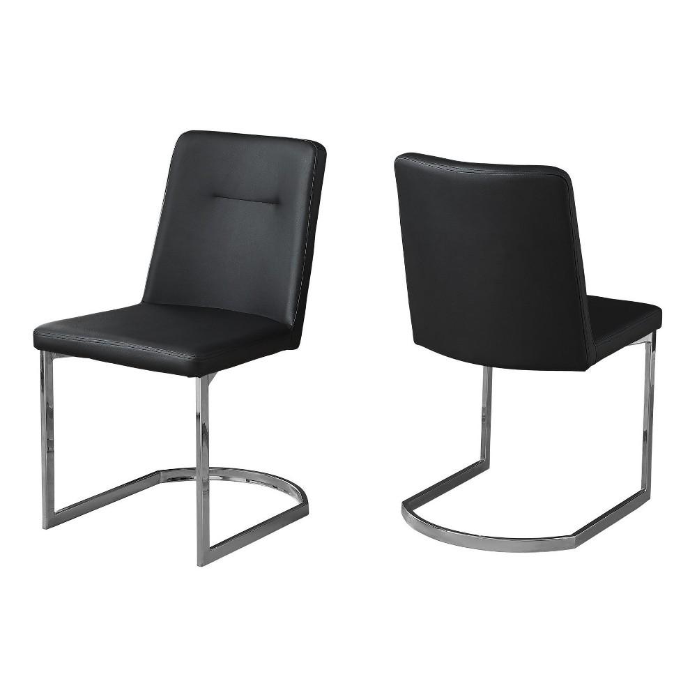 Dining Chair - Black Leather & Chrome - EveryRoom