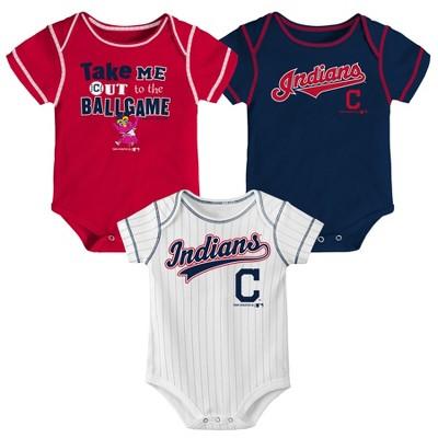 Cleveland Indians Boys' 3pk Bodysuit Set - 3-6M