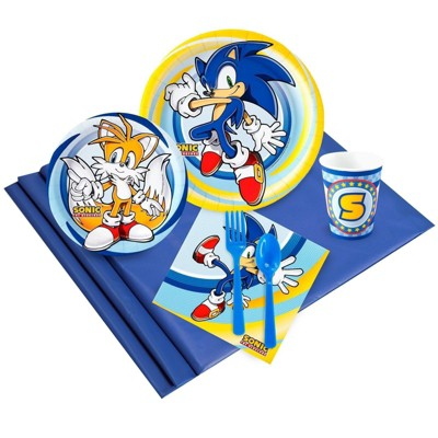 Birthday Express Sonic The Hedgehog Party Tableware Pack for 16 Guests