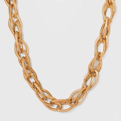 Oval Link Chain Statement Necklace - Universal Thread™ Worn Gold