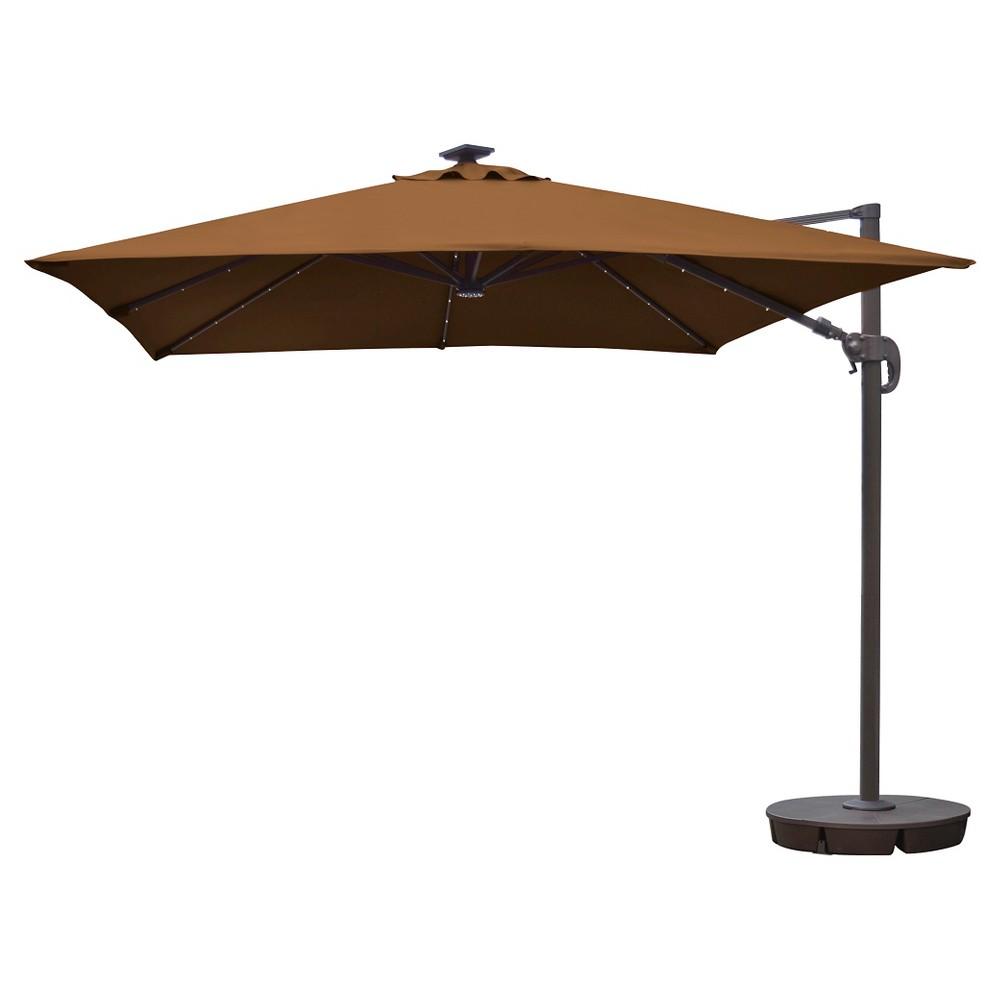 Island Umbrella Santorini II Fiesta 10' Square Cantilever Umbrella in Stone (Grey) Sunbrella