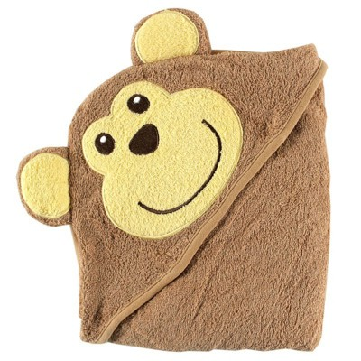 Luvable Friends Baby Boy Cotton Animal Face Hooded Towel, Monkey, One Size