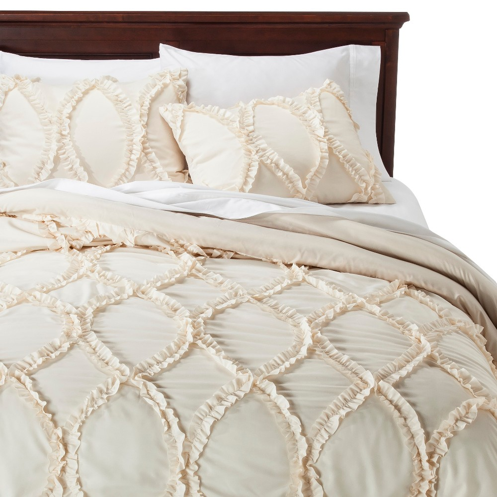Avon Ogee Texture Comforter Set (Queen) Ivory 3pc - Lush Décor